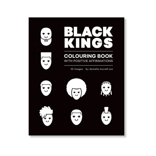cover of Black Kings colouring books, black and white