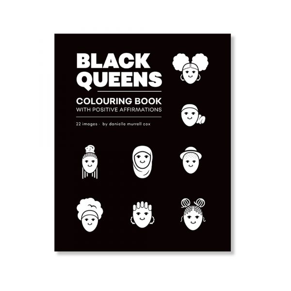 cover of Black Queens colouring books, black and white