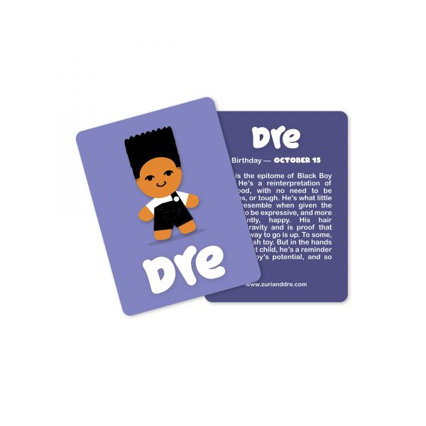 dre collectible card, dre illustration on purple background with back showing text about dre