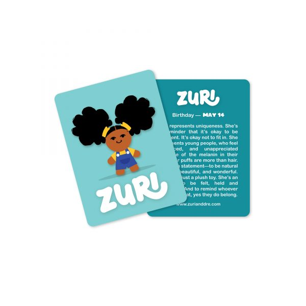 zuri collectible card, zuri illustration on teal background with back showing text about zuri