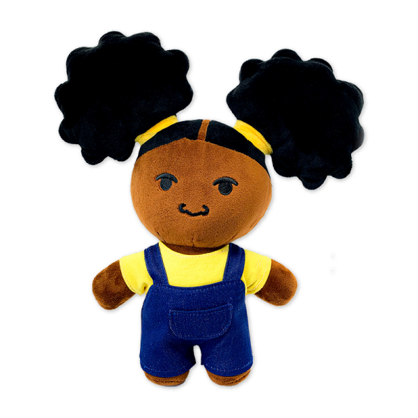 dark brown zuri plush doll with afro puffs in yellow shirt with blue overalls back view