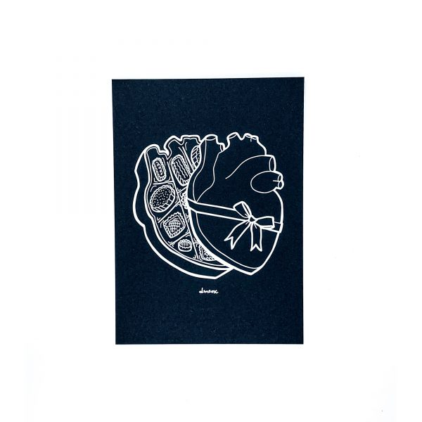 outline of an anatomical heart box of chocolates white ink on black cardstock print