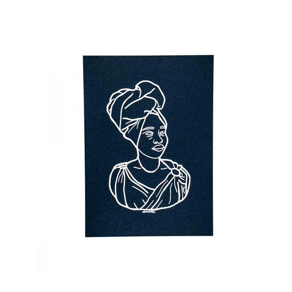 black woman outline with headwrap white ink on black cardstock print