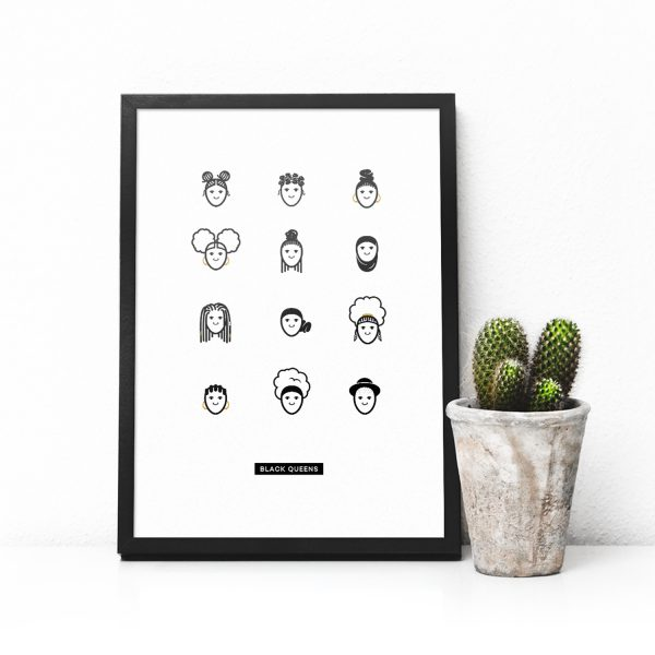 Black queens characters from colouring book in a symmetrical poster in a black frame with cactus plant next to it